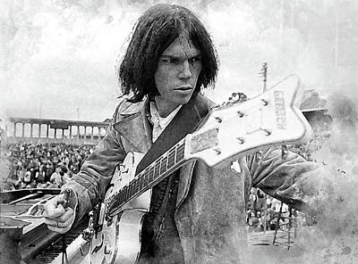 Neil Young Digital Art - Neil Young by Karl Knox