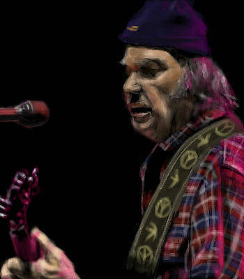 Neil Young Digital Art - Neil Young by Lori Wadleigh