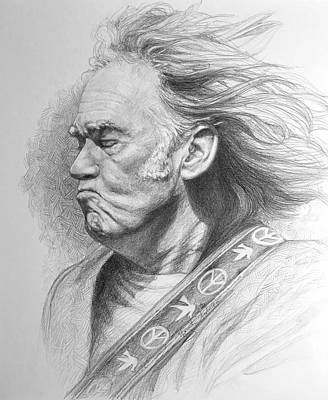 Neil Young Drawing -  Neil Young  by Marguerite Anderson