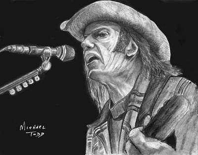 Neil Young Drawing - Neil Young by Michael Todd