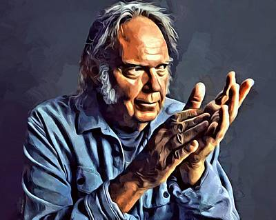 Neil Young Digital Art - Neil Young Portrait by Scott Wallace