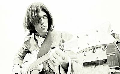 Neil Young Drawing - Neil Young Watercolor by John Malone