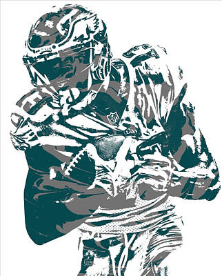 Mixed Media - Nelson Agholor Philadelphia Eagles Pixel Art 2 by Joe Hamilton