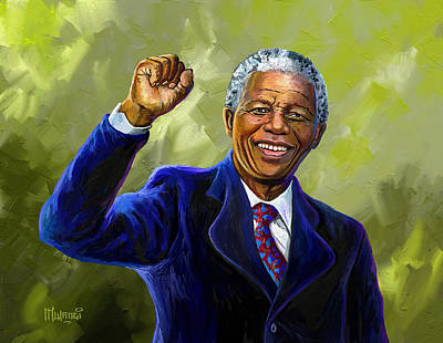 Painting - Nelson Mandela by Anthony Mwangi