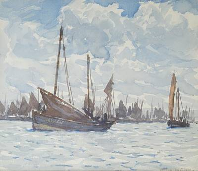 Scotch Painting - Nelson Dawson Rba Re 1859-1941 - Scotch Herring Boats Off Scarborough by Celestial Images