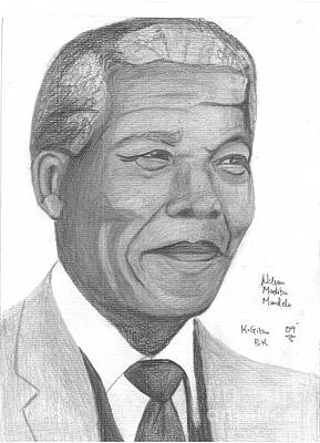 Nelson Mandela Art Print by Chris Gitau