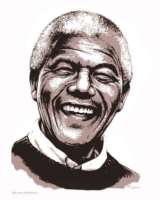 Mixed Media Royalty Free Images - Nelson Mandela Royalty-Free Image by Greg Joens