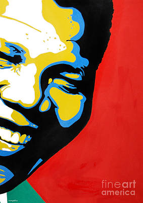Painting - Nelson Mandela Part Three by Nancy Mergybrower