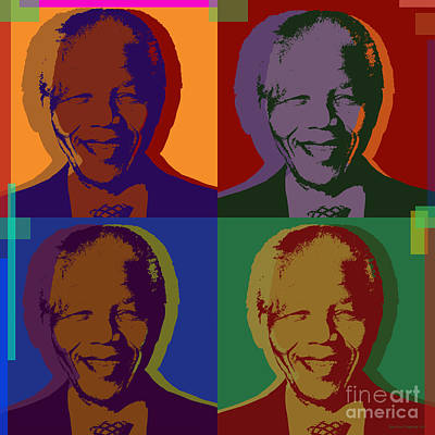 Racism Digital Art - Nelson Mandela Pop Art by Jean luc Comperat