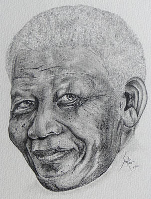 Drawing - Nelson Mandela by Stephen Sookoo