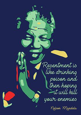 Mandela Digital Art - Nelson Mandela by Greatom London