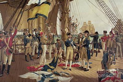Royal Navy Painting - Nelson's Last Signal At Trafalgar  by Thomas Davidson
