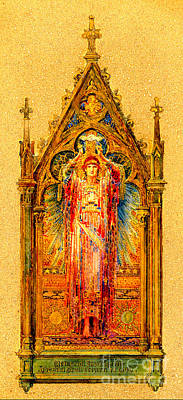 Painting - Neo Gothic Jesus Christ Mosaic Panel  by Louis Comfort Tiffany