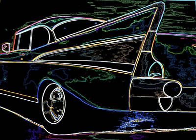 Neon 57 Chevy Bel Air Art Print