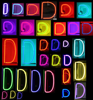 R.i.p Photograph - Neon Alphabet Series Letter D by Michael Ledray