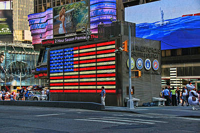 Photograph - Neon American Flag 3 by Allen Beatty
