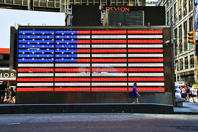 Photograph - Neon American Flag 4 by Allen Beatty