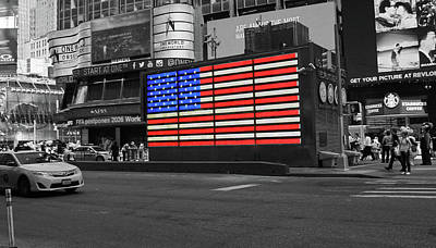 Photograph - Neon American Flag # 2 - Selective Color by Allen Beatty
