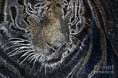 Digital Art - Neon Animal - Tiger 1 by Wendy Wilton