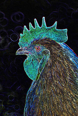 Digital Art - Neon Animals - Cockerel by Wendy Wilton