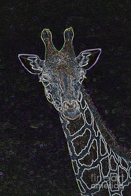 Digital Art - Neon Animals - Giraffe 1 by Wendy Wilton