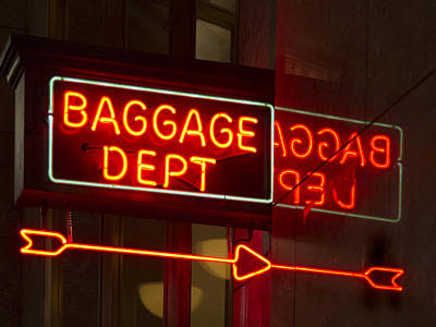Photograph - Neon Baggage Sign by Jean Noren