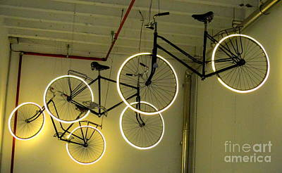 Photograph - Neon Bicycles by Randall Weidner
