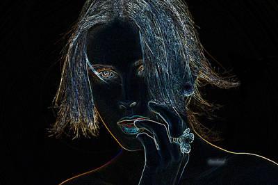 Looking At Camera Mixed Media - Neon Bling  by Garland Johnson