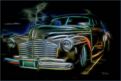 Digital Art - Neon Buick by Bill Posner