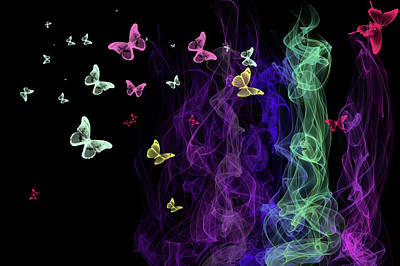 Photograph - Neon Butterflies by Jenny Rainbow