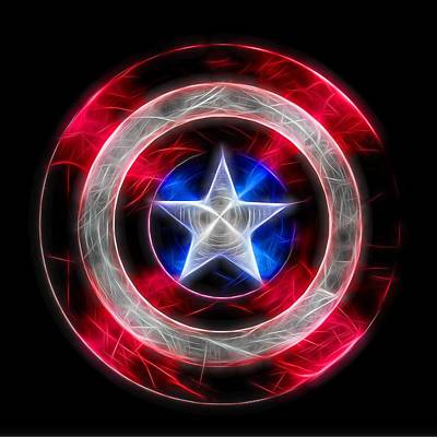 Soldiers Mixed Media - Neon Captain America Shield by Dan Sproul