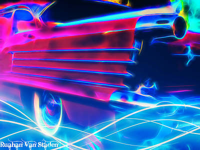 Digital Art - Neon Cars by Riana Van Staden