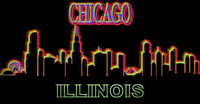 Museum Mixed Media - Neon Chicago Skyline Sign by Dan Sproul