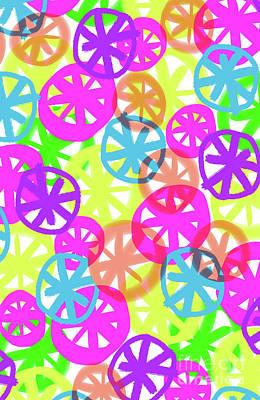 Repeat Digital Art - Neon Circles by Louisa Knight
