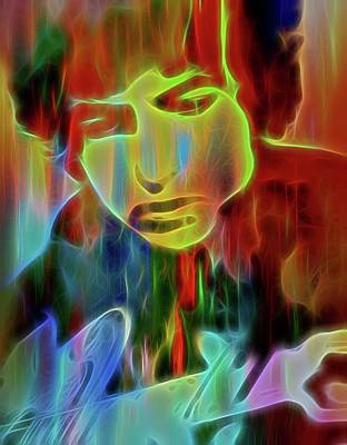 Acoustic Guitar Mixed Media - Neon Color Bob Dylan by Dan Sproul
