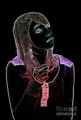 Anger Digital Art - Neon Confrontation by Betty LaRue