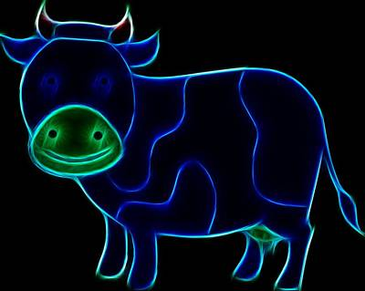 Digital Art - Neon Cow by Maciek Froncisz