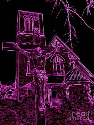 Digital Art - Neon Crucifixion by Ed Weidman