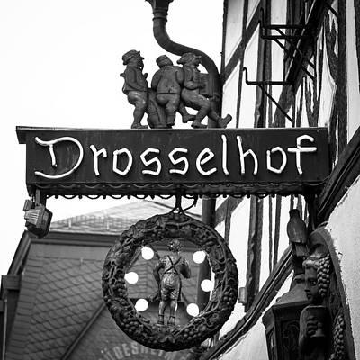 Neon Drosselhof Sign B W Art Print