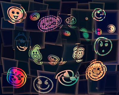 Smiling Mixed Media - Neon Emoticon Cubism by Dan Sproul