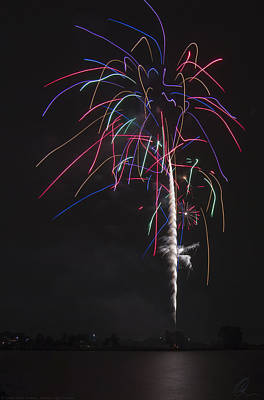 Photograph - Neon Fireworks Display by Chris Thomas