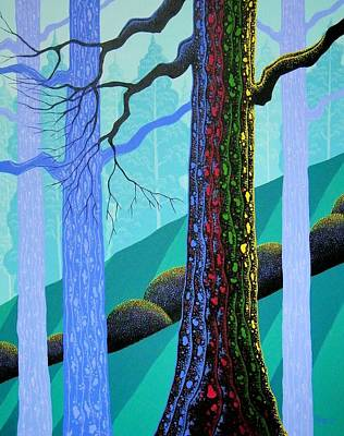 Oregon Painting - Neon Forest by Larissa Holt