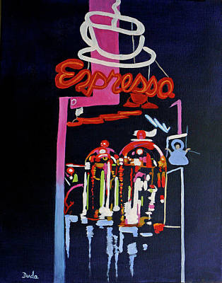 Painting - Neon Glow,brass N Copper Expresso Bar by Susan Duda