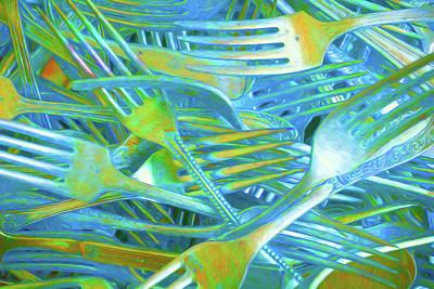 Neon Glowing Forks Art Print by Charles Haaland