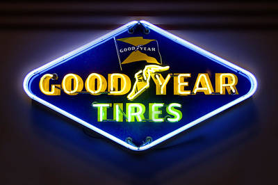 Neon Goodyear Tires Sign Art Print by Mike McGlothlen