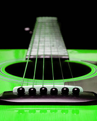 Digital Art - Neon Green Guitar 18 by Andee Design