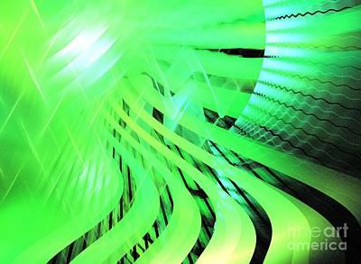 Digital Art - Neon Green Waves by Kim Sy Ok