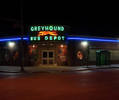 Photograph - Neon Greyhound Bus Depot Sign by Chris Flees