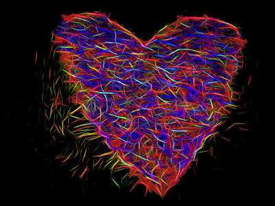 Music Figurative Potraits - Neon Heart by David Kay