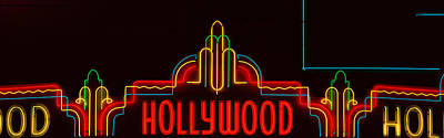 Nightlife Photograph - Neon Hollywood Sign In Panoramic Format by Panoramic Images